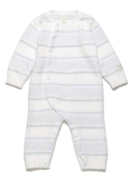 【BABY】'ベビモコ'4ボーダー baby ロンパース(BLU-70)