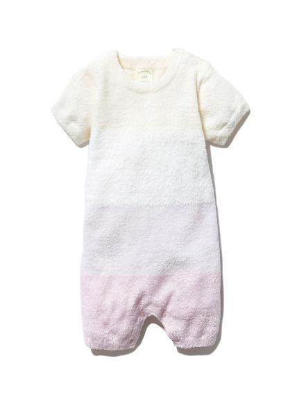 【BABY】'スムーズィー'ブロックボーダー baby ロンパース(PNK-70)