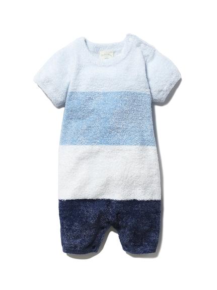 【BABY】'スムーズィー'ブロックボーダー baby ロンパース(BLU-70)
