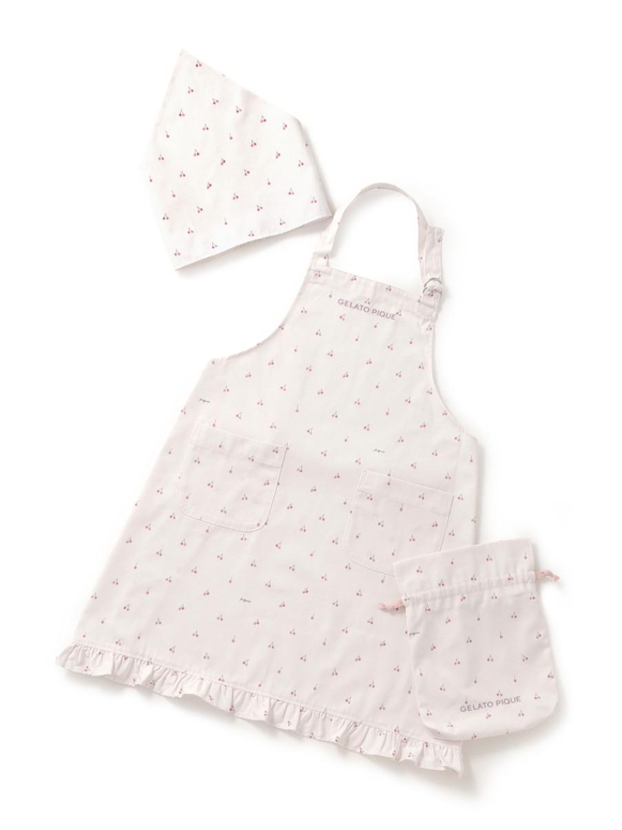 【オフィシャルオンラインストア限定】【Junior】チェリーエプロン&三角巾SET(巾着付き)(PNK-130-150)