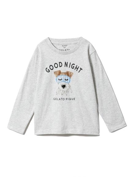 【KIDS】アニマルアイマスクワンポイントkidsTシャツ(GRY-XXS)