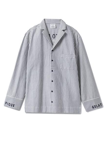 【GELATO PIQUE HOMME】ストライプロゴシャツ_