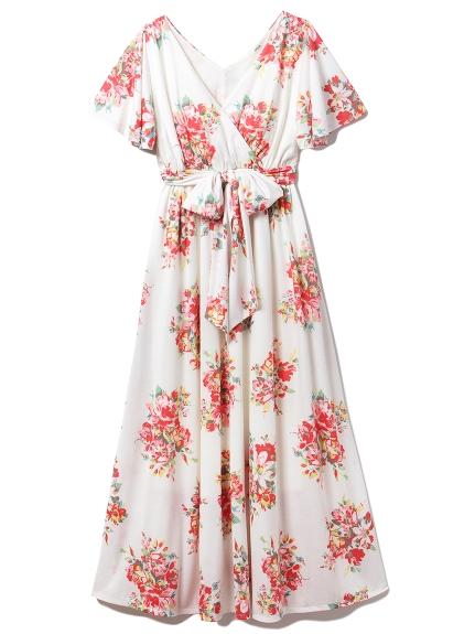 フラワーブーケロングドレス