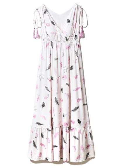 フェザーロングドレス