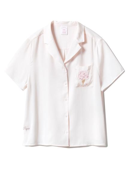 【SAKURA FAIR】チェリーブロッサムエンブロイダリーサテンシャツ