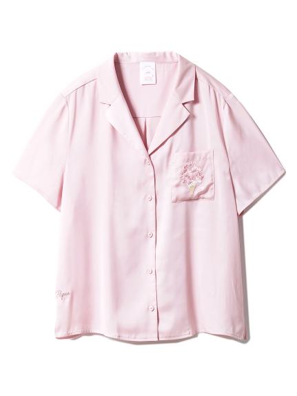 【SAKURA FAIR】チェリーブロッサムエンブロイダリーサテンシャツ(PNK-F)