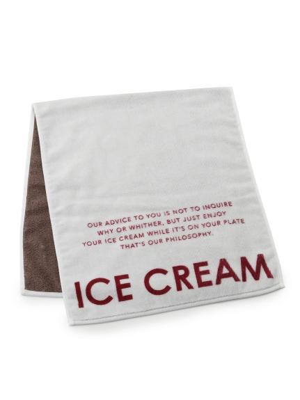 アイスクリームロゴジャガードフェイスタオル